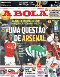 capa Jornal A Bola de 26 outubro 2018