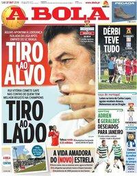 capa Jornal A Bola de 27 outubro 2018