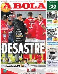 capa Jornal A Bola de 28 outubro 2018