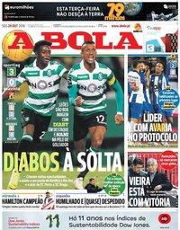capa Jornal A Bola de 29 outubro 2018