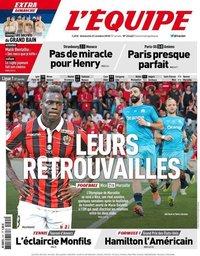capa Jornal L'Équipe de 21 outubro 2018
