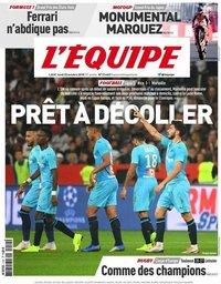 capa Jornal L'Équipe de 22 outubro 2018