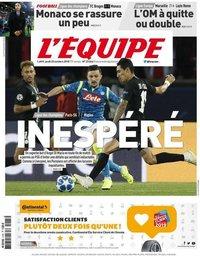 capa Jornal L'Équipe de 25 outubro 2018