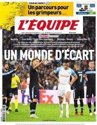 capa Jornal L'Équipe de 26 outubro 2018