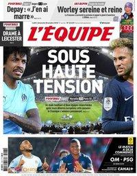 capa Jornal L'Équipe de 28 outubro 2018