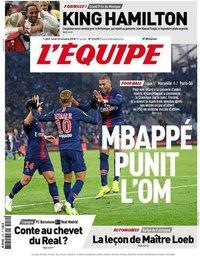 capa Jornal L'Équipe de 29 outubro 2018