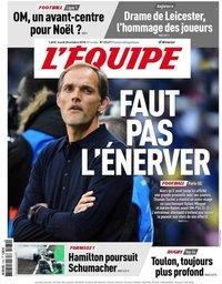 capa Jornal L'Équipe de 30 outubro 2018