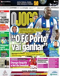 capa Jornal O Jogo de 22 outubro 2018