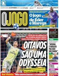 capa Jornal O Jogo de 24 outubro 2018