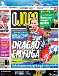 capa Jornal O Jogo de 25 outubro 2018