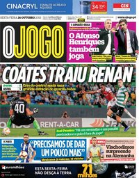 capa Jornal O Jogo de 26 outubro 2018