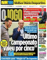 capa Jornal O Jogo de 31 outubro 2018