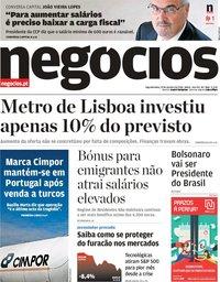 capa Jornal de Negócios de 29 outubro 2018