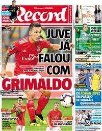 capa Jornal Record de 20 outubro 2018