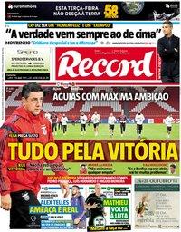 capa Jornal Record de 23 outubro 2018