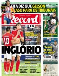 capa Jornal Record de 24 outubro 2018