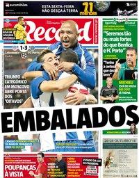 capa Jornal Record de 25 outubro 2018