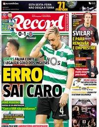 capa Jornal Record de 26 outubro 2018