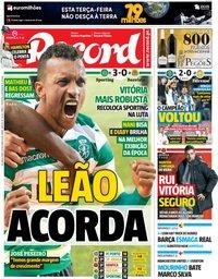 capa Jornal Record de 29 outubro 2018