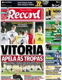 capa Jornal Record de 30 outubro 2018