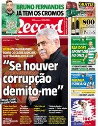 capa Jornal Record de 31 outubro 2018