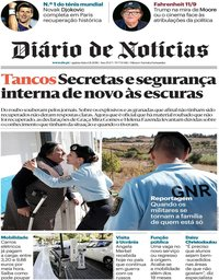 capa Diário de Notícias de 1 novembro 2018