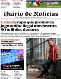 capa Diário de Notícias de 8 novembro 2018