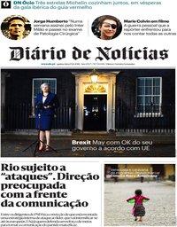 capa Diário de Notícias de 15 novembro 2018