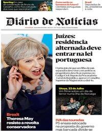 capa Diário de Notícias de 16 novembro 2018