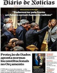 capa Diário de Notícias de 23 novembro 2018