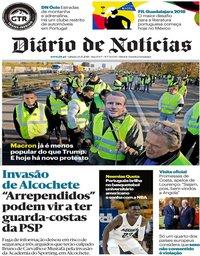 capa Diário de Notícias de 24 novembro 2018