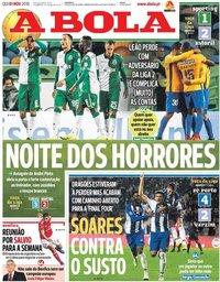 capa Jornal A Bola de 1 novembro 2018