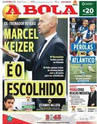 capa Jornal A Bola de 4 novembro 2018