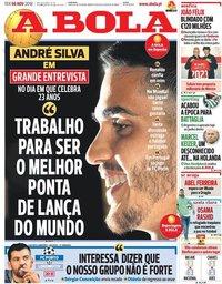 capa Jornal A Bola de 6 novembro 2018