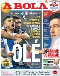 capa Jornal A Bola de 7 novembro 2018