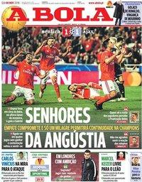 capa Jornal A Bola de 8 novembro 2018