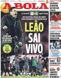 capa Jornal A Bola de 9 novembro 2018