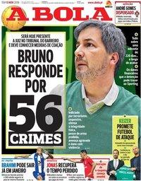 capa Jornal A Bola de 13 novembro 2018