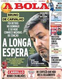 capa Jornal A Bola de 15 novembro 2018