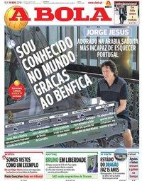 capa Jornal A Bola de 16 novembro 2018