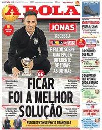 capa Jornal A Bola de 17 novembro 2018