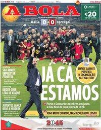 capa Jornal A Bola de 18 novembro 2018