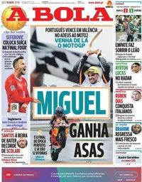 capa Jornal A Bola de 19 novembro 2018