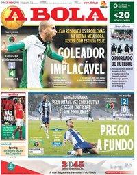 capa Jornal A Bola de 25 novembro 2018