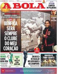 capa Jornal A Bola de 26 novembro 2018