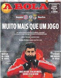 capa Jornal A Bola de 27 novembro 2018