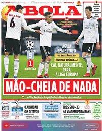 capa Jornal A Bola de 28 novembro 2018