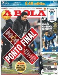 capa Jornal A Bola de 29 novembro 2018