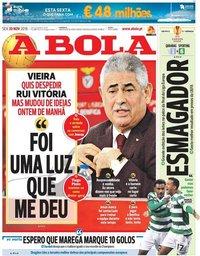 capa Jornal A Bola de 30 novembro 2018