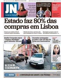 capa Jornal de Notícias de 10 novembro 2018